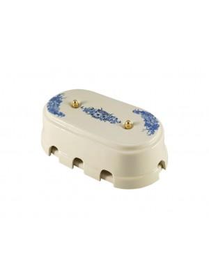 Коробка распаячная большая монтажная фарфоровая, цвет fiori viola (синие цветы), золотистая фурнитура