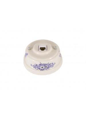Розетка компьютерная фарфоровая, цвет fiori viola (синие цветы), серебристая фурнитура