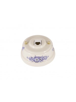 Розетка компьютерная фарфоровая, цвет fiori viola (синие цветы), золотистая фурнитура