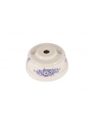 Розетка телевизионная оконченная фарфоровая, цвет fiori viola (синие цветы), серебристая фурнитура
