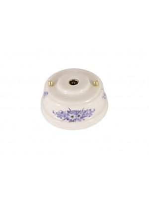 Розетка телевизионная оконченная фарфоровая, цвет fiori viola (синие цветы), золотистая фурнитура