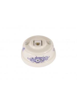 Розетка телефонная фарфоровая, цвет fiori viola (синие цветы), серебристая фурнитура
