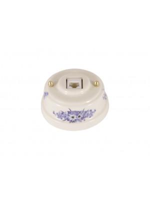 Розетка телефонная фарфоровая, цвет fiori viola (синие цветы), золотистая фурнитура