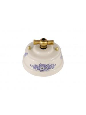Выключатель фарфоровый поворотный двухклавишный, цвет fiori viola (синие цветы), ручка бронза