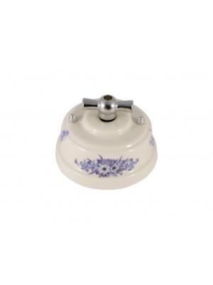 Выключатель (переключатель) фарфоровый поворотный одноклавишный проходной, цвет fiori viola (синие цветы), ручка серебро