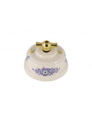Выключатель (переключатель) фарфоровый поворотный одноклавишный проходной, цвет fiori viola (синие цветы), ручка золото