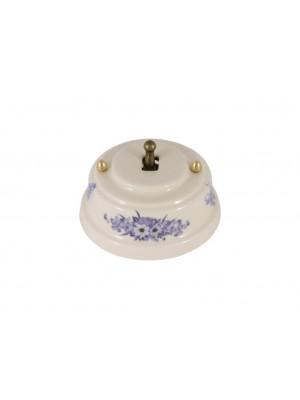 Выключатель фарфоровый однорычажковый проходной, цвет fiori viola (синие цветы), тумблер бронза