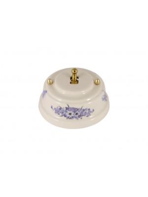 Выключатель фарфоровый однорычажковый, цвет fiori viola (синие цветы), тумблер золото