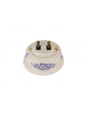 Выключатель фарфоровый двухрычажковый, цвет fiori viola (синие цветы), тумблер бронза