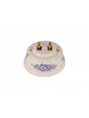 Выключатель фарфоровый двухрычажковый, цвет fiori viola (синие цветы), тумблер золото