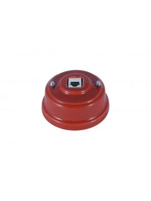 Розетка компьютерная фарфоровая, цвет granato (гранатовый), серебристая фурнитура