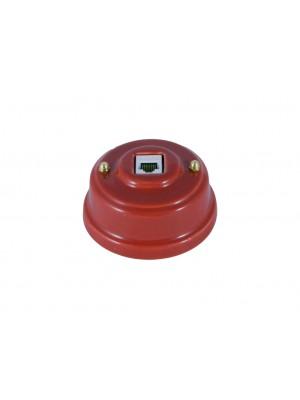 Розетка компьютерная фарфоровая, цвет granato (гранатовый), золотистая фурнитура