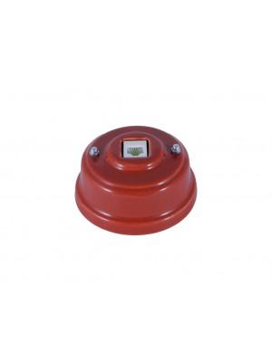 Розетка телефонная фарфоровая, цвет granato (гранатовый), серебристая фурнитура