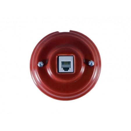 Розетка телефонная RJ 11 фарфоровая, цвет granato (гранатовый), серебристая фурнитура