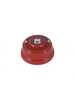 Розетка телефонная фарфоровая, цвет granato (гранатовый), золотистая фурнитура