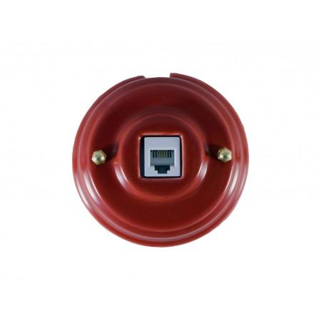 Розетка телефонная RJ 11 фарфоровая, цвет granato (гранатовый), золотистая фурнитура