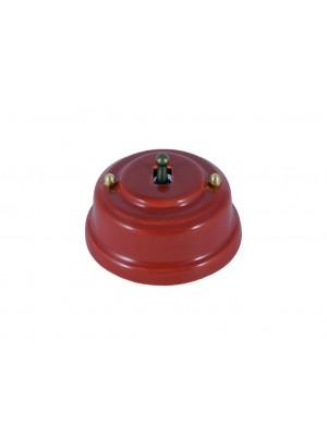 Выключатель фарфоровый однорычажковый проходной, цвет granato (гранатовый), тумблер бронза