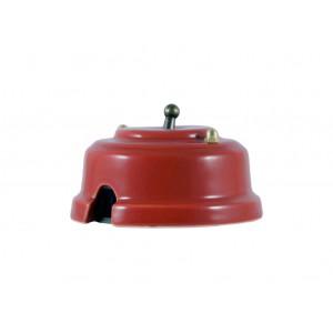 Выключатель однорычажковый фарфоровый, цвет granato (гранатовый), тумблер бронза