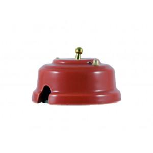 Выключатель (переключатель) фарфоровый однорычажковый проходной на 2 направления, цвет granato (гранатовый), тумблер золото