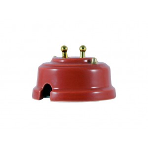 Выключатель двухрычажковый фарфоровый, цвет granato (гранатовый), тумблер золото