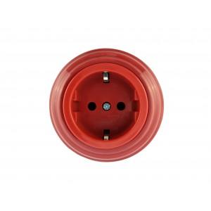 Розетка фарфоровая с/з, цвет granato (гранатовый), серебристая фурнитура
