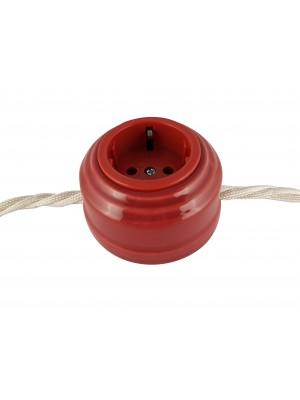 Розетка фарфоровая проходная с/з, цвет granato (гранатовый), серебристая фурнитура