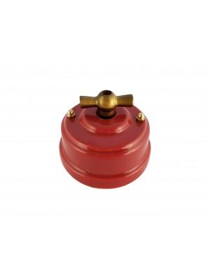 Выключатель фарфоровый поворотный двухклавишный, цвет granato (гранатовый), ручка бронза