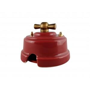 Выключатель (переключатель) фарфоровый поворотный одноклавишный проходной, цвет granato (гранатовый), ручка бронза