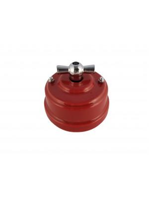 Выключатель (переключатель) фарфоровый поворотный проходной, цвет granato (гранатовый), ручка серебро