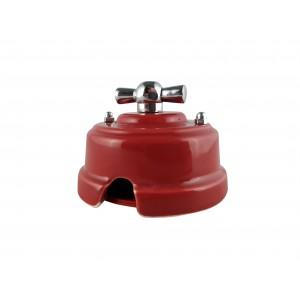 Выключатель фарфоровый поворотный одноклавишный, цвет granato (гранатовый), ручка серебро