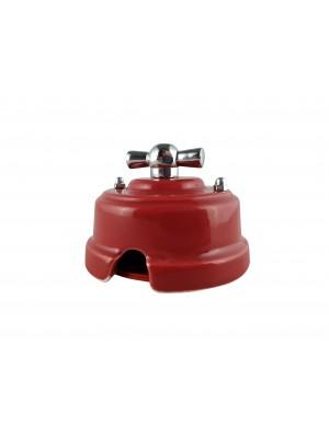 Выключатель фарфоровый поворотный двухклавишный, цвет granato (гранатовый), ручка серебро