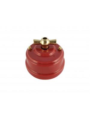 Выключатель фарфоровый поворотный одноклавишный, цвет granato (гранатовый), ручка золото
