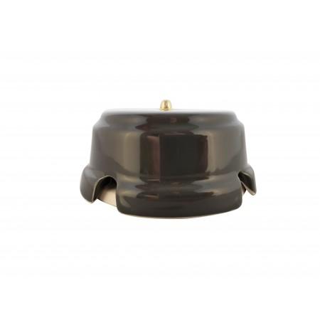Коробка распаячная монтажная фарфоровая, цвет grigio (серый), золотистая фурнитура