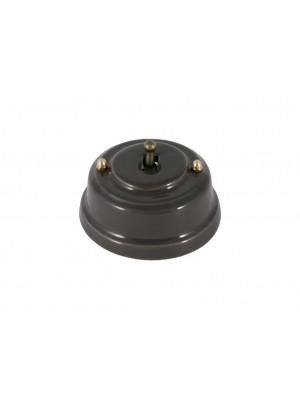 Выключатель фарфоровый однорычажковый, цвет grigio (серый), тумблер бронза