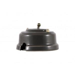 Выключатель однорычажковый фарфоровый, цвет grigio (серый), тумблер бронза