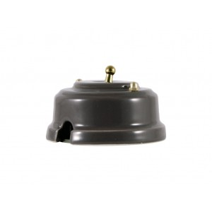 Выключатель (переключатель) фарфоровый однорычажковый проходной на 2 направления, цвет grigio (серый), тумблер золото