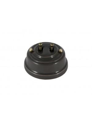 Выключатель фарфоровый двухрычажковый, цвет grigio (серый), тумблер бронза