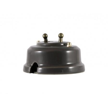 Выключатель двухрычажковый фарфоровый, цвет grigio (серый), тумблер бронза