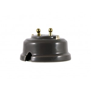 Выключатель двухрычажковый фарфоровый, цвет grigio (серый), тумблер золото