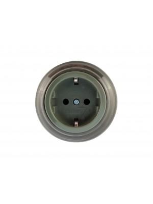 Розетка фарфоровая с/з, цвет grigio (серый), серебристая фурнитура