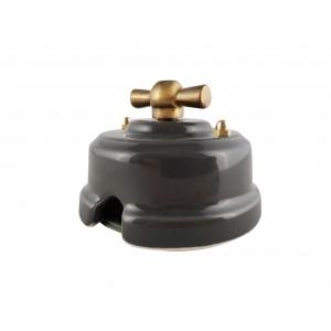 Выключатель фарфоровый поворотный двухклавишный, цвет grigio (серый), ручка бронза
