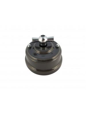 Выключатель (переключатель) фарфоровый поворотный проходной, цвет grigio (серый), ручка серебро