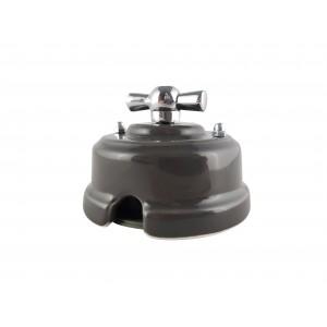 Выключатель (переключатель) фарфоровый поворотный одноклавишный проходной, цвет grigio (серый), ручка серебро
