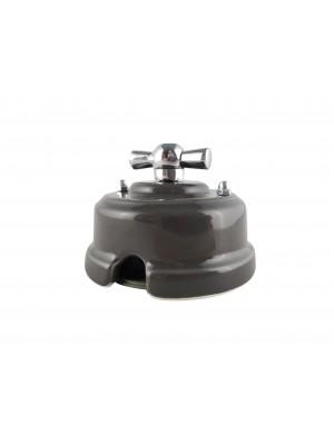 Выключатель фарфоровый поворотный одноклавишный, цвет grigio (серый), ручка серебро