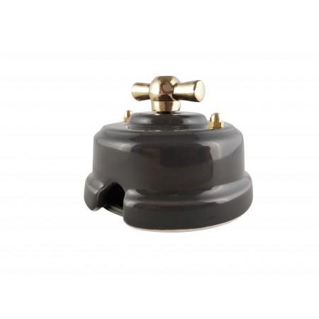 Выключатель (переключатель) фарфоровый поворотный одноклавишный проходной, цвет grigio (серый), ручка золото