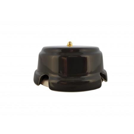Коробка распаячная монтажная фарфоровая, цвет nero (черный), золотистая фурнитура