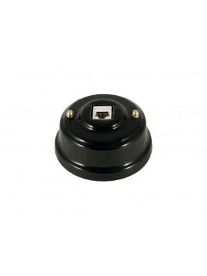 Розетка компьютерная фарфоровая, цвет nero (черный), золотистая фурнитура