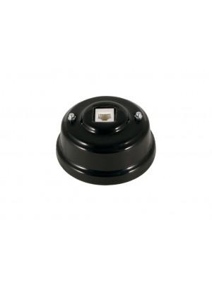 Розетка телефонная фарфоровая, цвет nero (черный), серебристая фурнитура