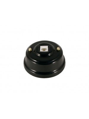 Розетка телефонная фарфоровая, цвет nero (черный), золотистая фурнитура