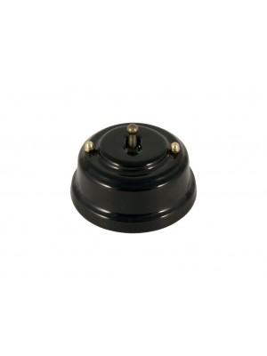 Выключатель фарфоровый однорычажковый проходной, цвет nero (черный), тумблер бронза